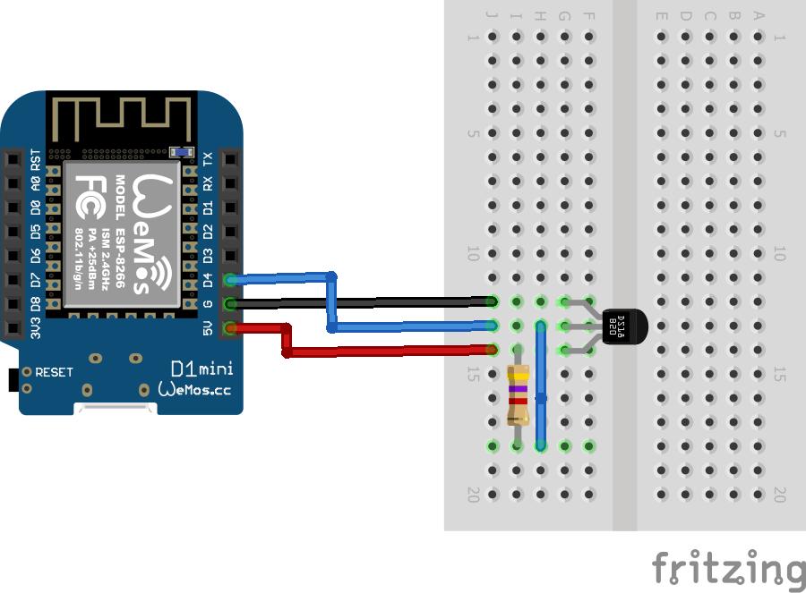 Wemos mini ds b temperature sensor example esp